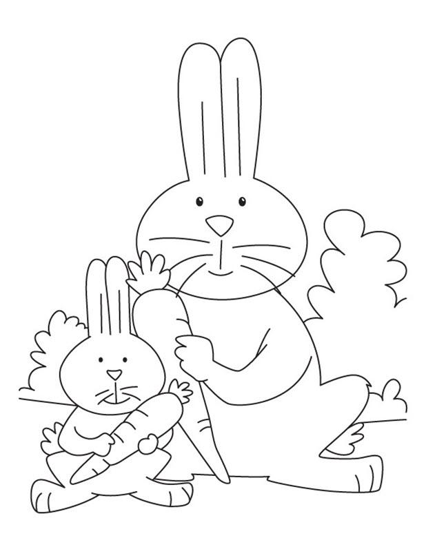 Tranh tô màu mẹ con nhà thỏ cùng cà rốt