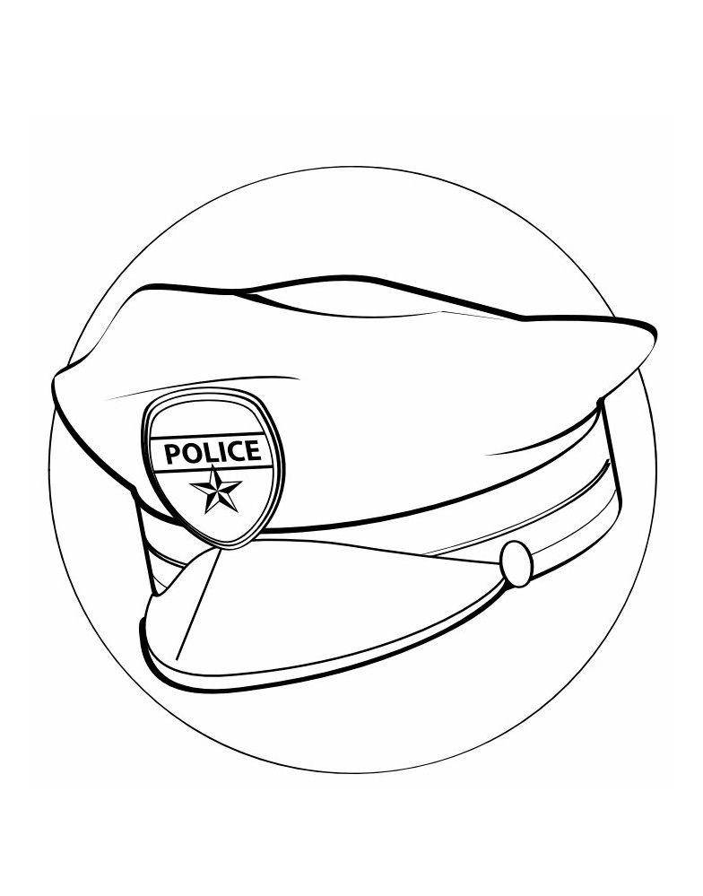 Tranh tô màu mũ cảnh sát