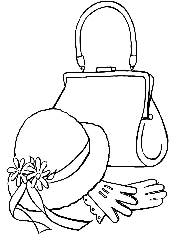 Tranh tô màu mũ và túi xách