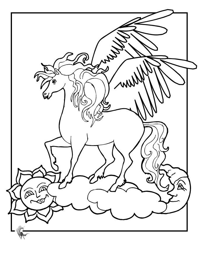 Tranh tô màu ngựa có cánh đẹp cho bé
