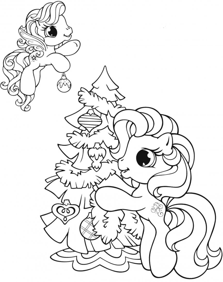 Tranh tô màu ngựa Pony bên cây thông đẹp