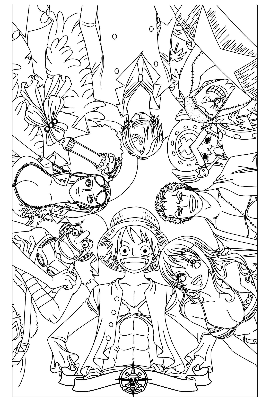 Tranh tô màu những nhân vật chính trong One Piece