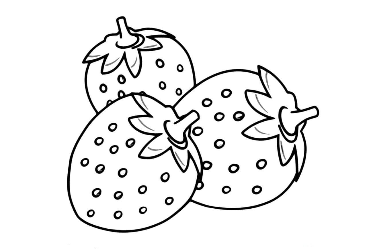 Tranh tô màu những quả dâu tây
