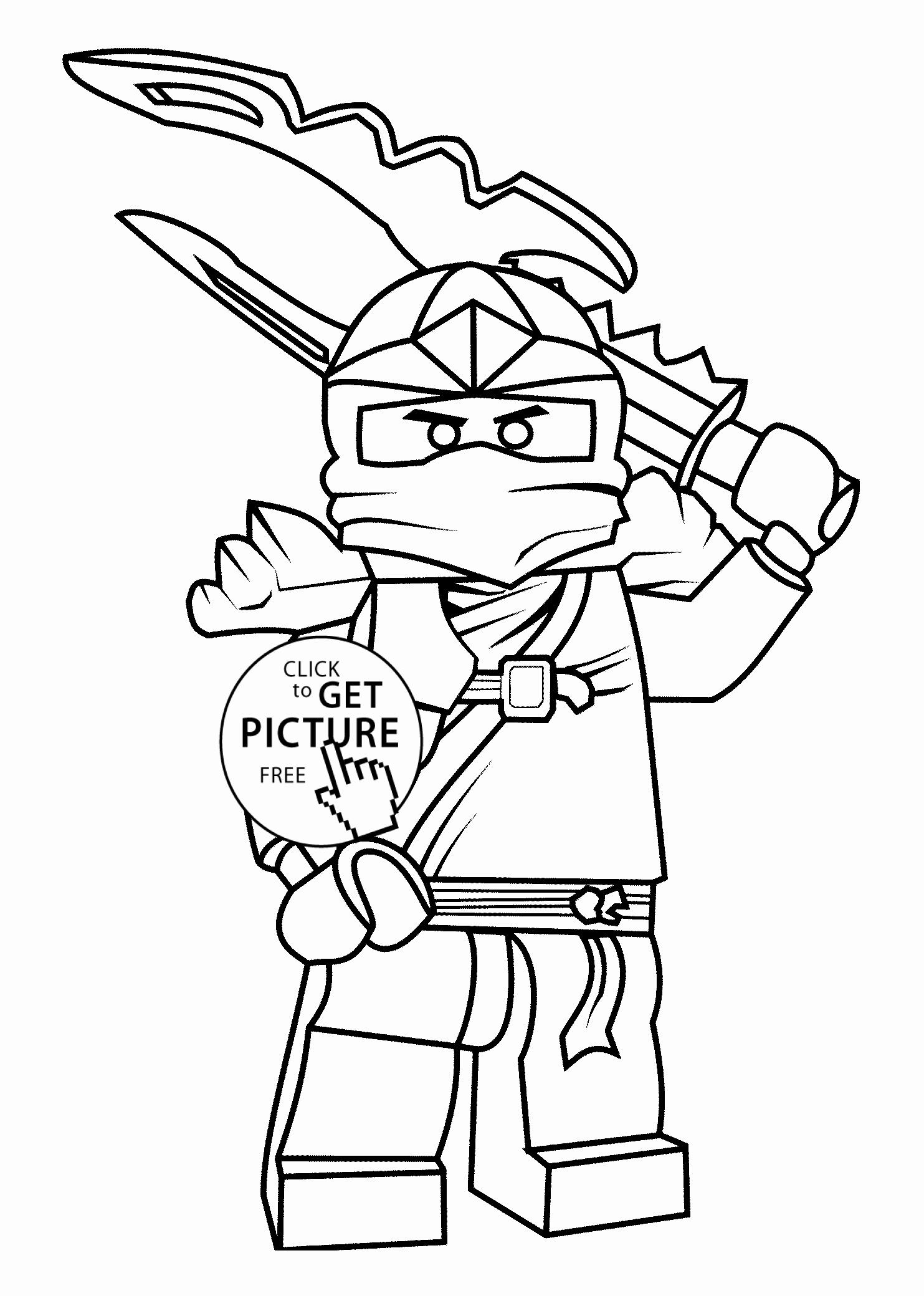 Tranh tô màu ninjago cầm đao hai lưỡi