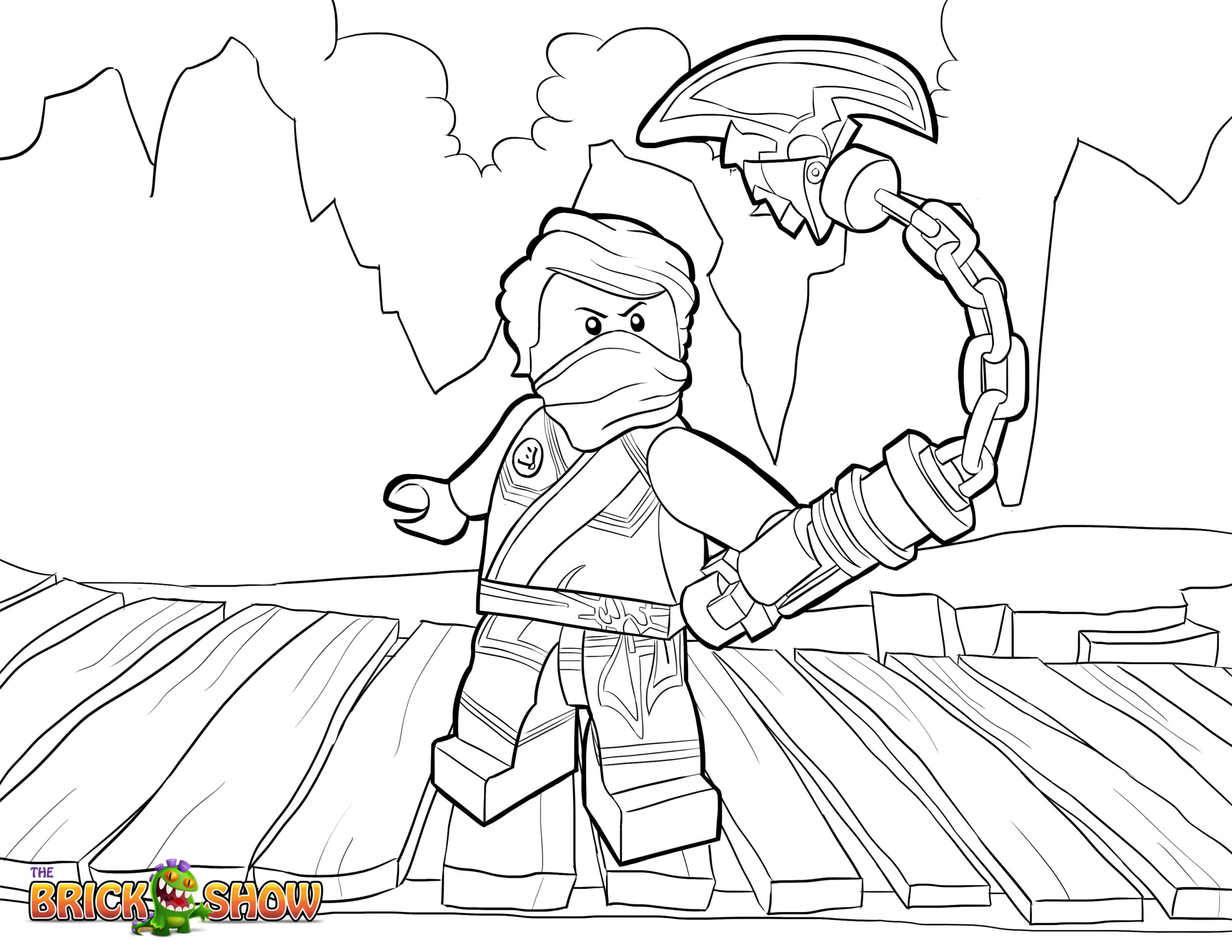 Tranh tô màu ninjago đứng trên cầu gỗ