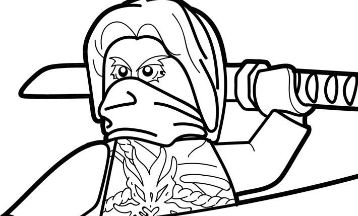 Tranh tô màu ninjago gác kiếm trên vai