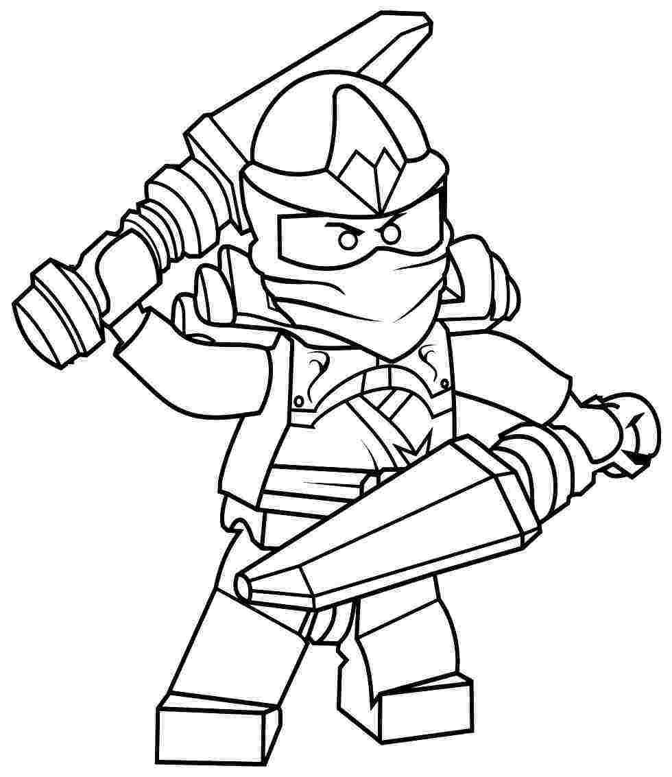 Tranh tô màu ninjago hai tay hai vũ khí