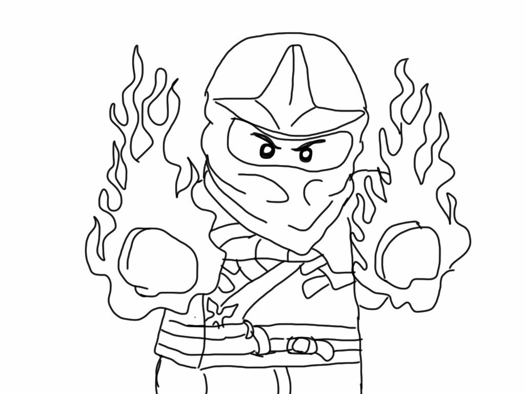 Tranh tô màu ninjago song quyền bốc lửa