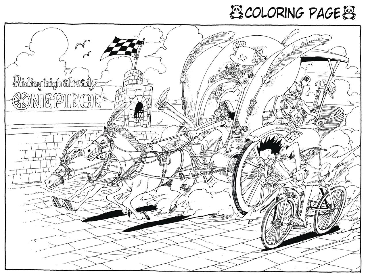 Tranh tô màu One Piece cuộc đua kỳ thú
