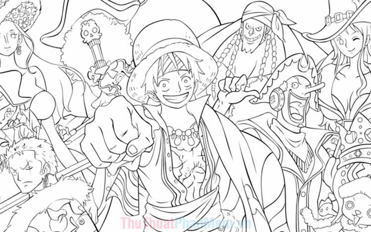 Tranh tô màu One Piece đẹp
