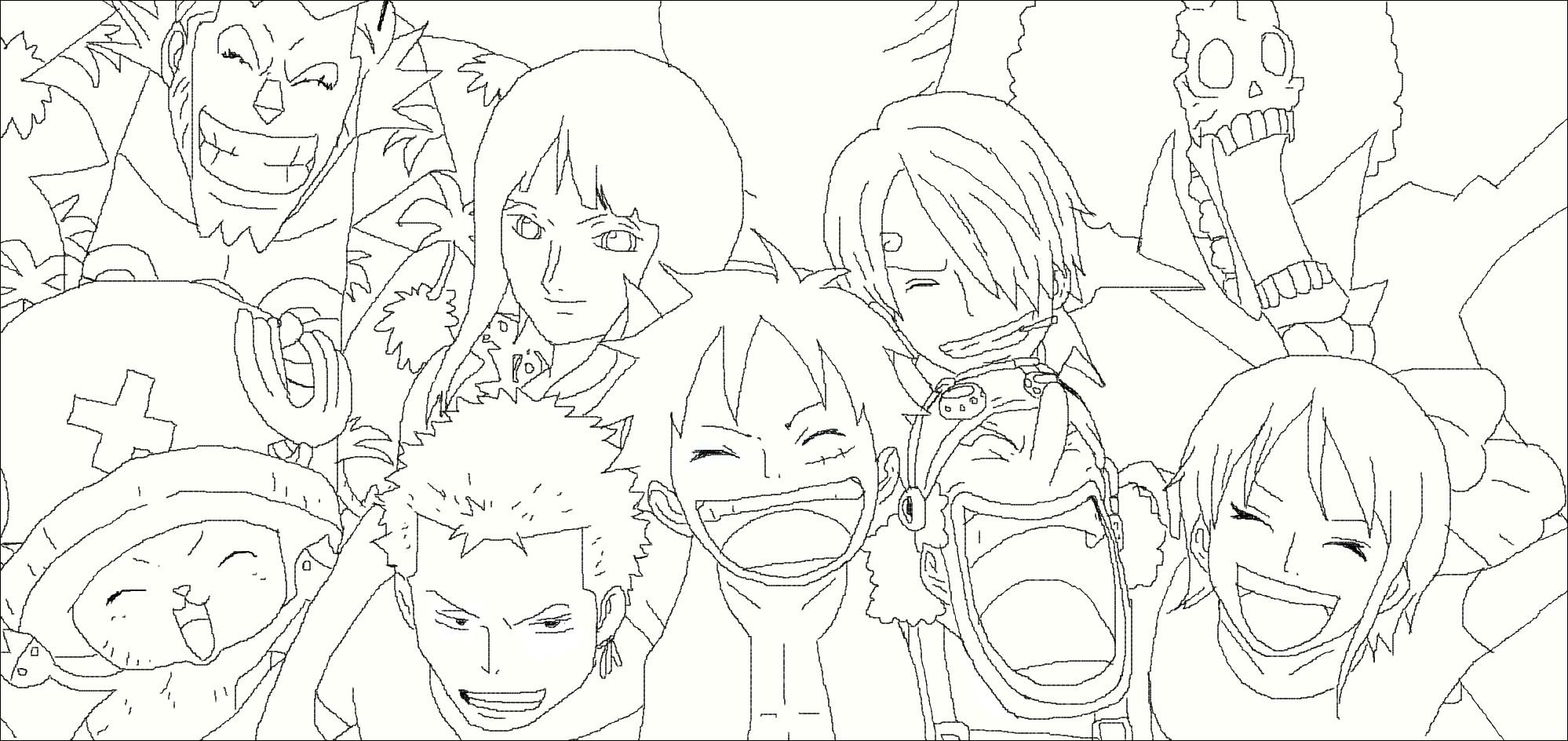 Tranh tô màu One Piece những người bạn
