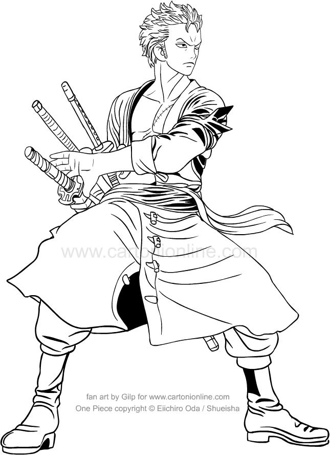 Tranh tô màu One Piece rất đẹp Zoro kiếm sĩ