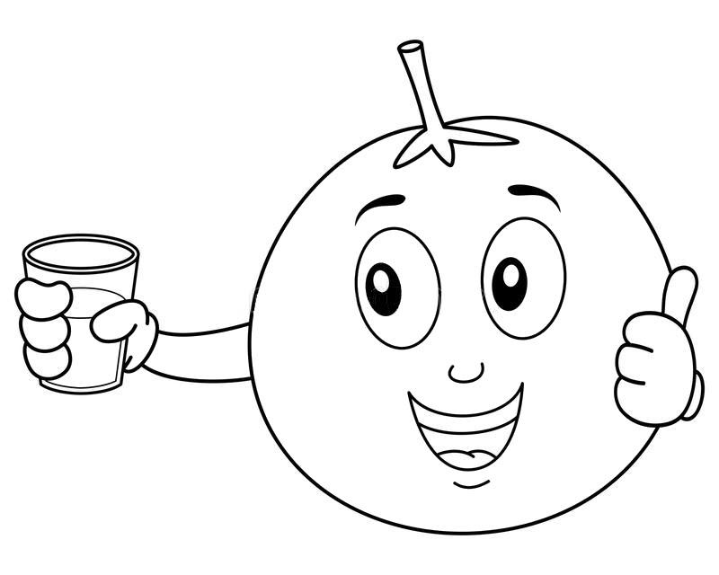 Tranh tô màu quả cam cầm cốc nước