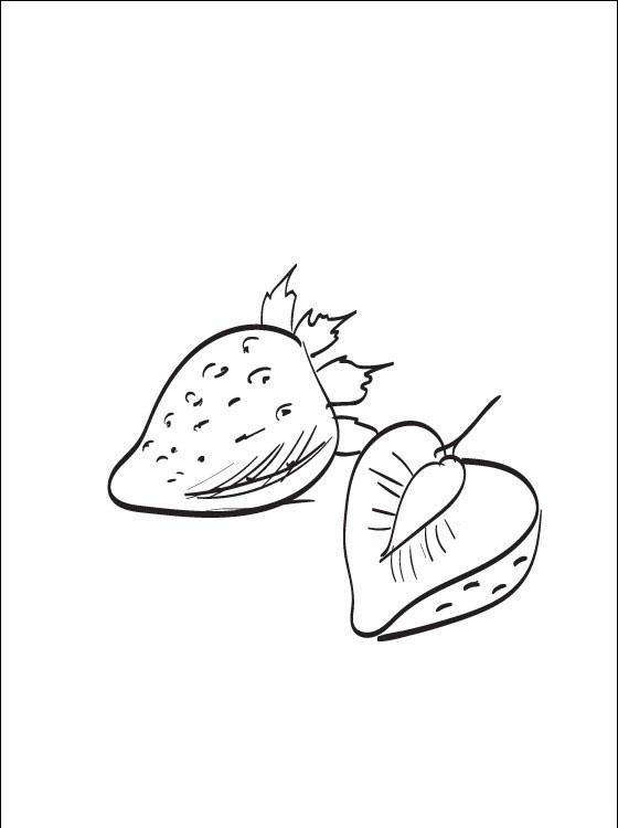 Tranh tô màu quả dâu tây bổ đôi