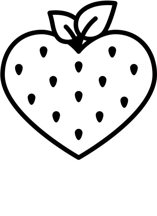 Tranh tô màu quả dâu tây trái tim
