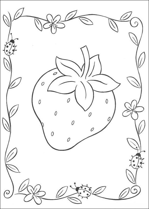 Tranh tô màu quả dâu tây trang trí