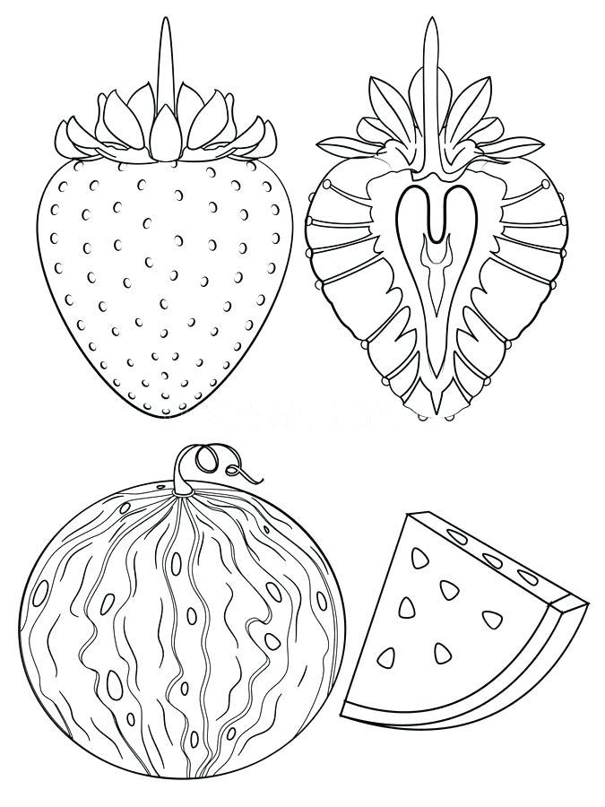 Tranh tô màu quả dâu tây và dưa hấu