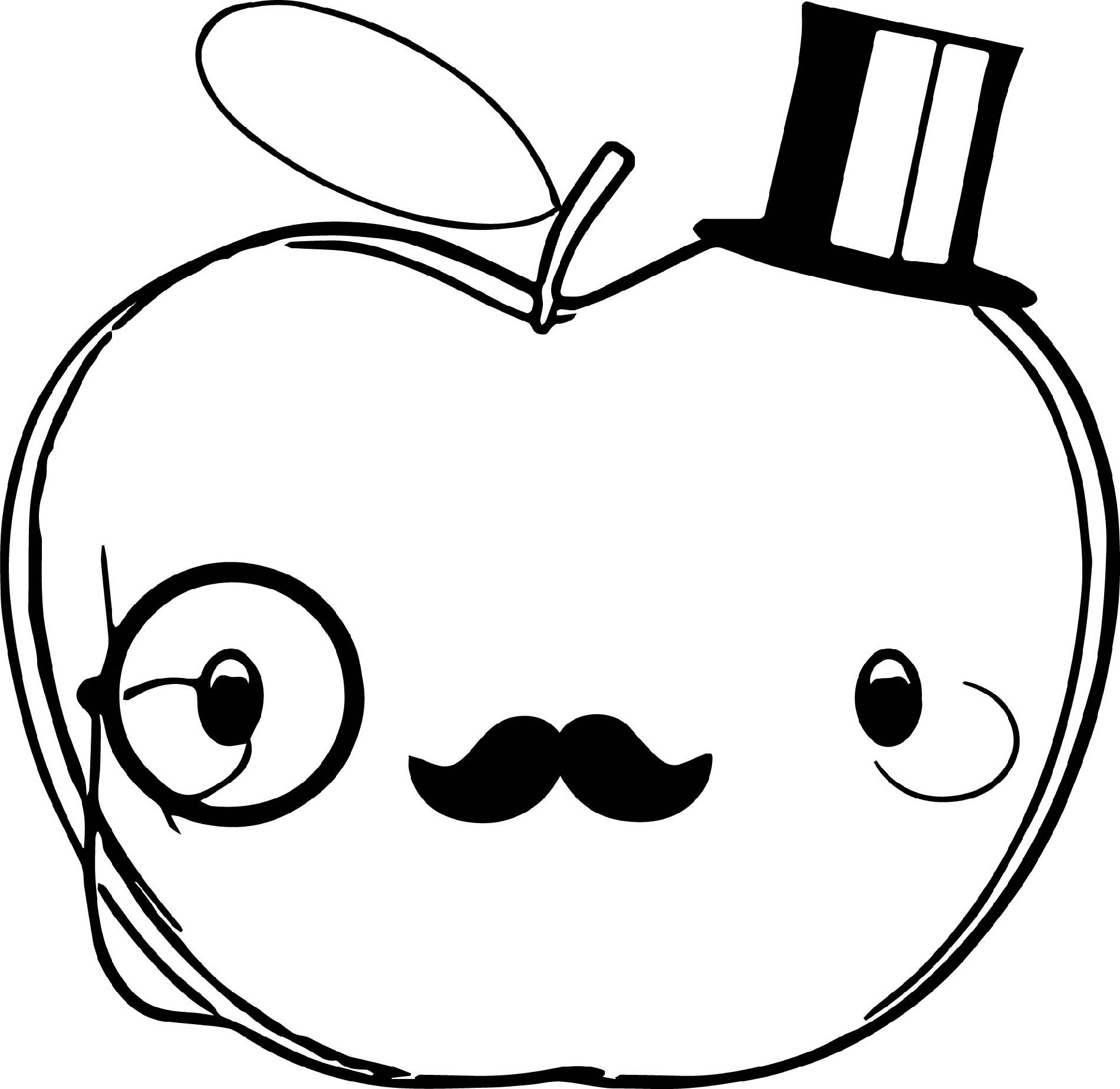 Tranh tô màu quả táo đáng yêu