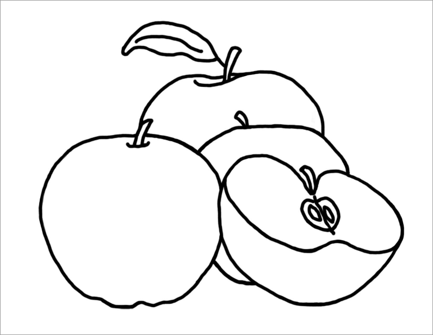 Tranh tô màu quả táo dành cho bé