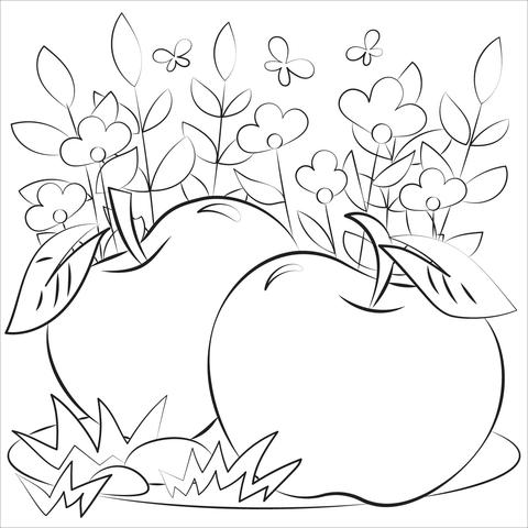 Tranh tô màu quả táo trong vườn