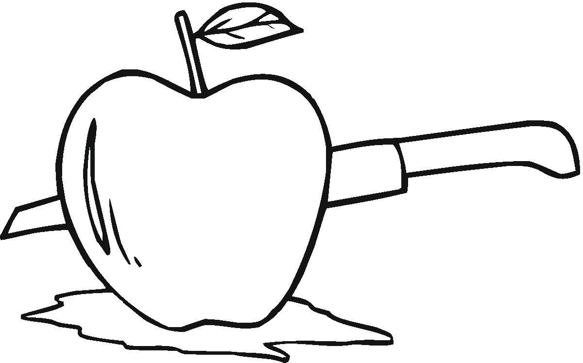Tranh tô màu quả táo và chiếc dao