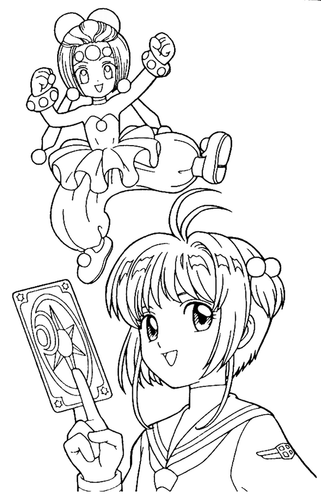 Tranh tô màu Sakura cầm lá bài magic