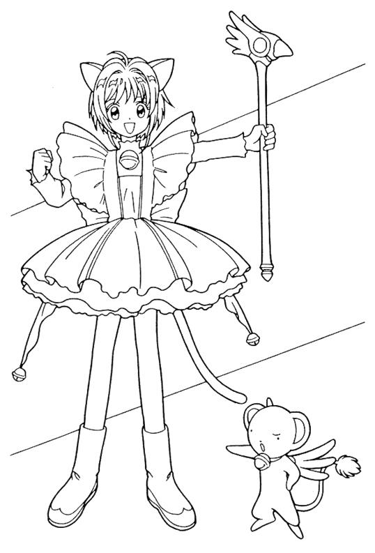 Tranh tô màu Sakura cầm quyền trượng