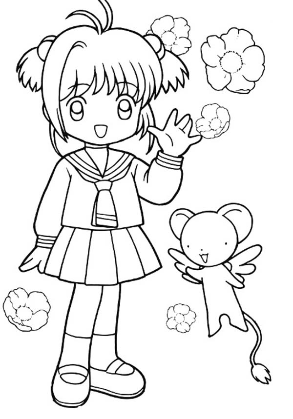 Tranh tô màu Sakura chibi giơ tay chào