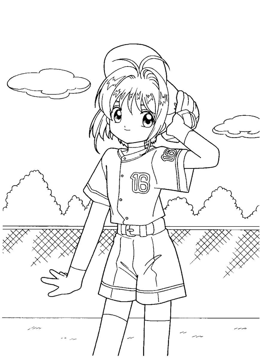 Tranh tô màu Sakura chơi bóng chày