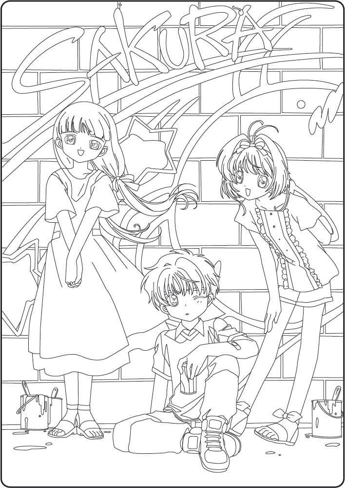Tranh tô màu Sakura cùng những người bạn bên cạnh