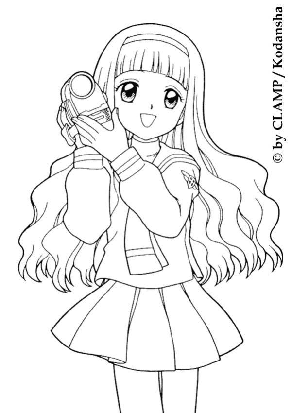 Tranh tô màu Sakura để tóc dài cực xinh