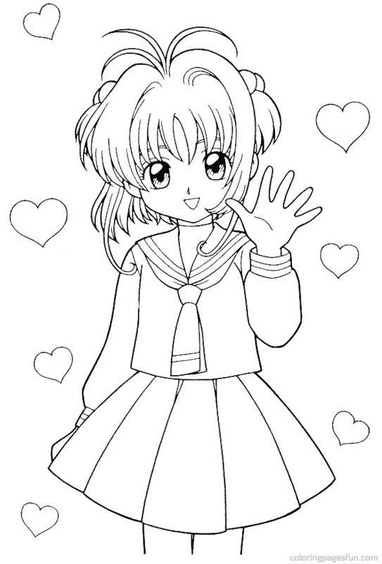 Tranh tô màu Sakura giơ tay chào trái tim bay bay