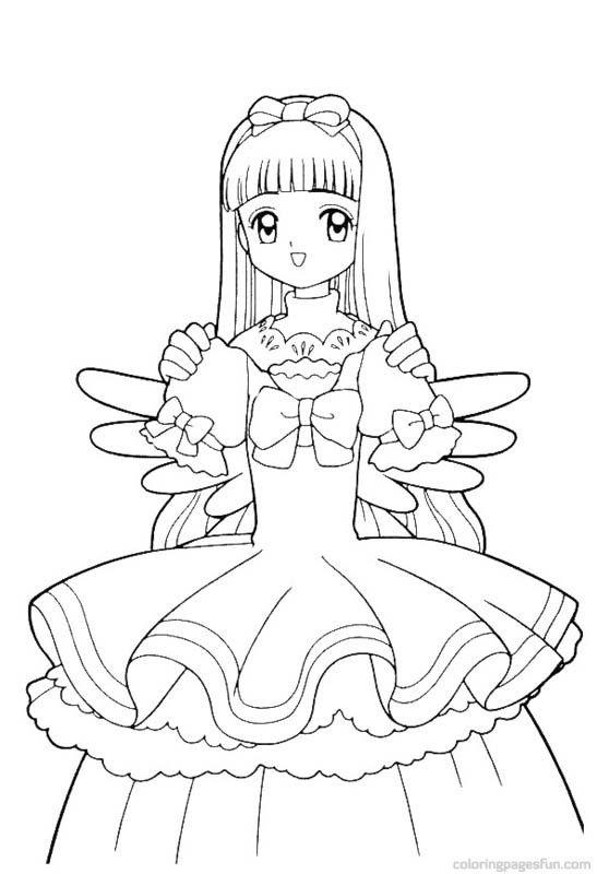 Tranh tô màu Sakura mặc váy công chúa