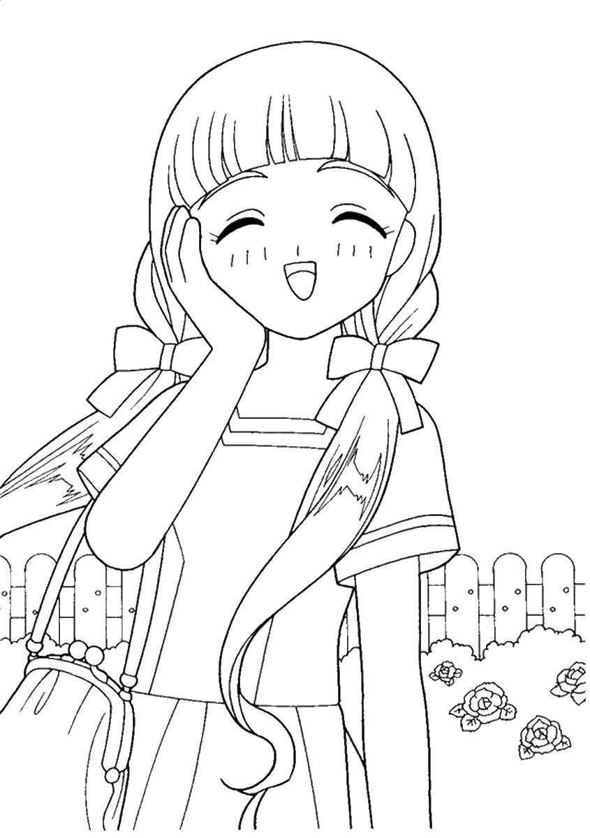 Tranh tô màu Sakura tóc dài xinh đẹp