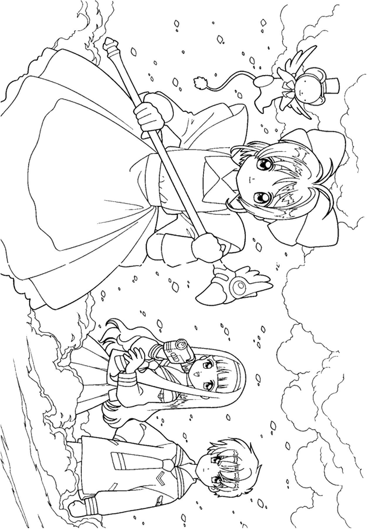 Tranh tô màu Sakura và các bạn