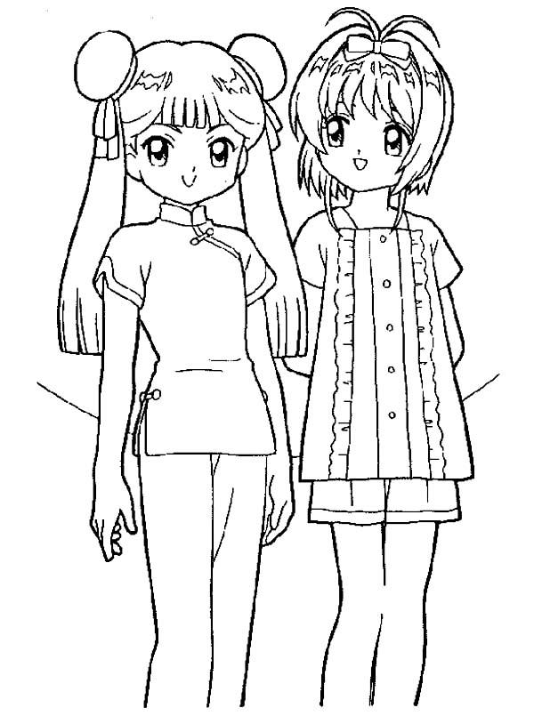 Tranh tô màu Sakura và một người bạn nữa