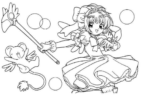 Tranh tô màu Sakura và người bạn sư tử con