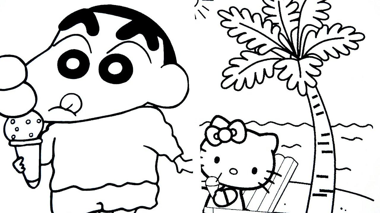 Tranh tô màu Shin cậu bé bút chì ăn kem