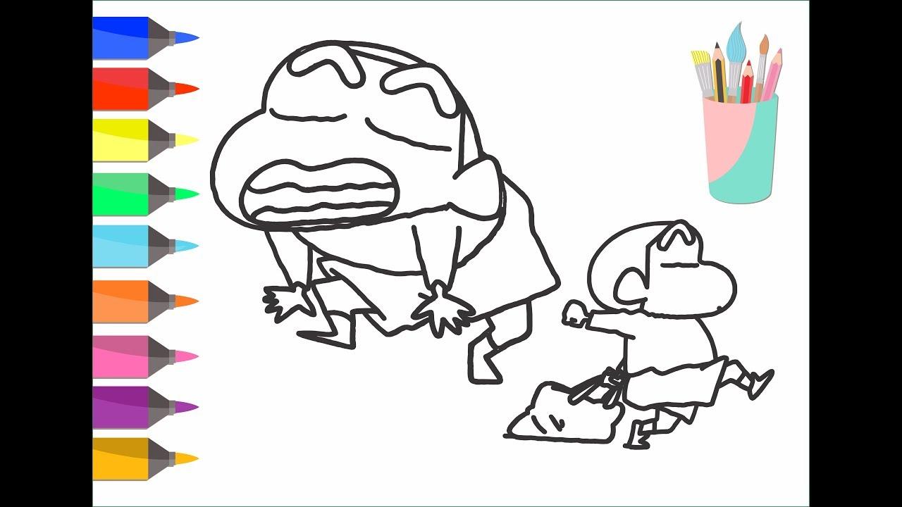 Tranh tô màu Shin cậu bé bút chì biểu cảm đáng yêu