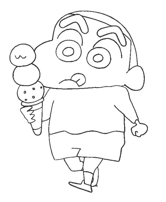 Tranh tô màu Shin cậu bé bút chì cầm cây kem