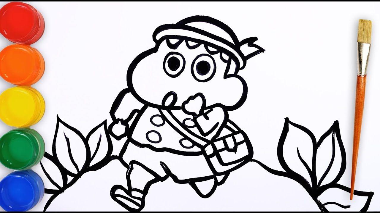 Tranh tô màu Shin cậu bé bút chì chạy tung tăng