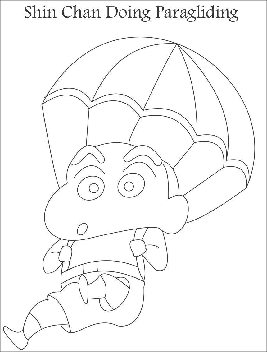 Tranh tô màu Shin cậu bé bút chì chơi nhảy dù