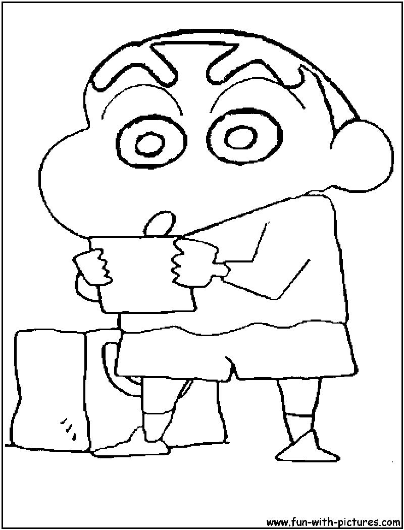 Tranh tô màu Shin cậu bé bút chì đọc cái gì đó