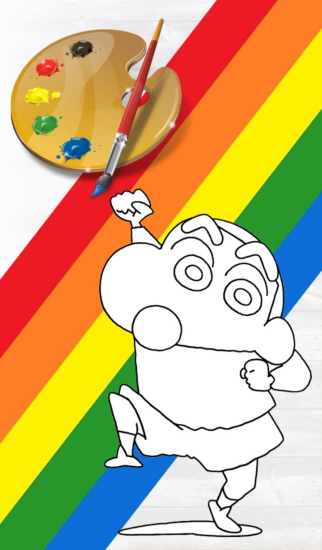 Tranh tô màu Shin cậu bé bút chì giơ tay chào vui nhộn