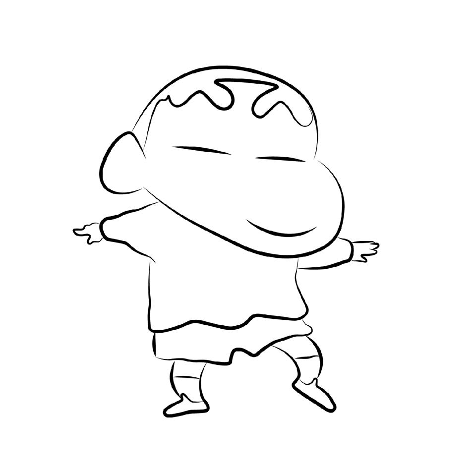 Tranh tô màu Shin cậu bé bút chì hí mắt nhảy múa