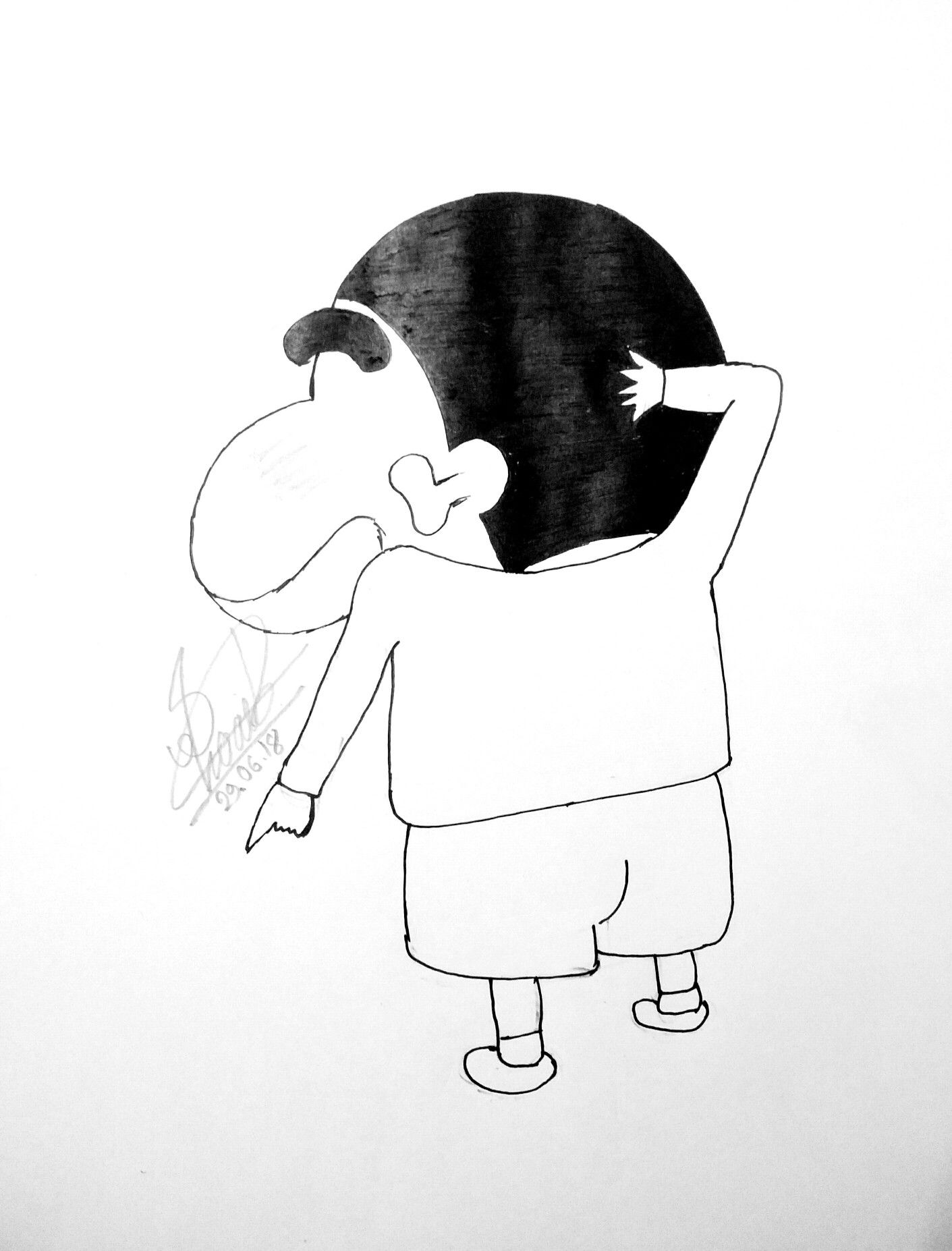 Tranh tô màu Shin cậu bé bút chì nhìn từ phía sau