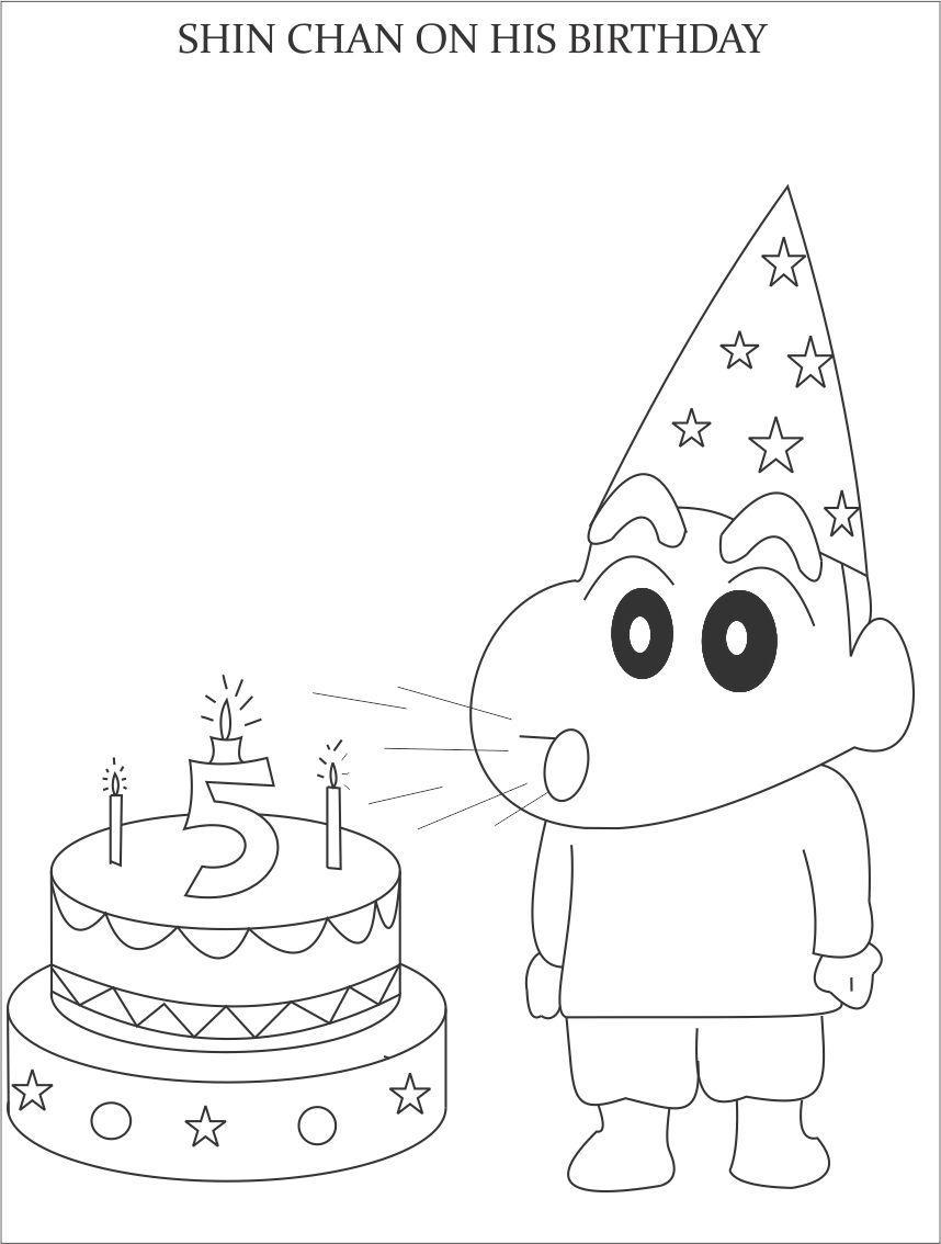 Tranh tô màu Shin cậu bé bút chì thổi nến bánh kem