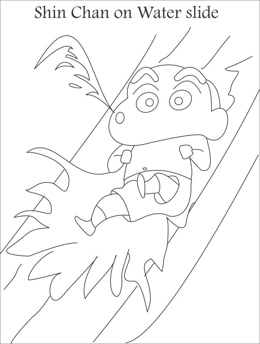 Tranh tô màu Shin cậu bé bút chì trượt nước
