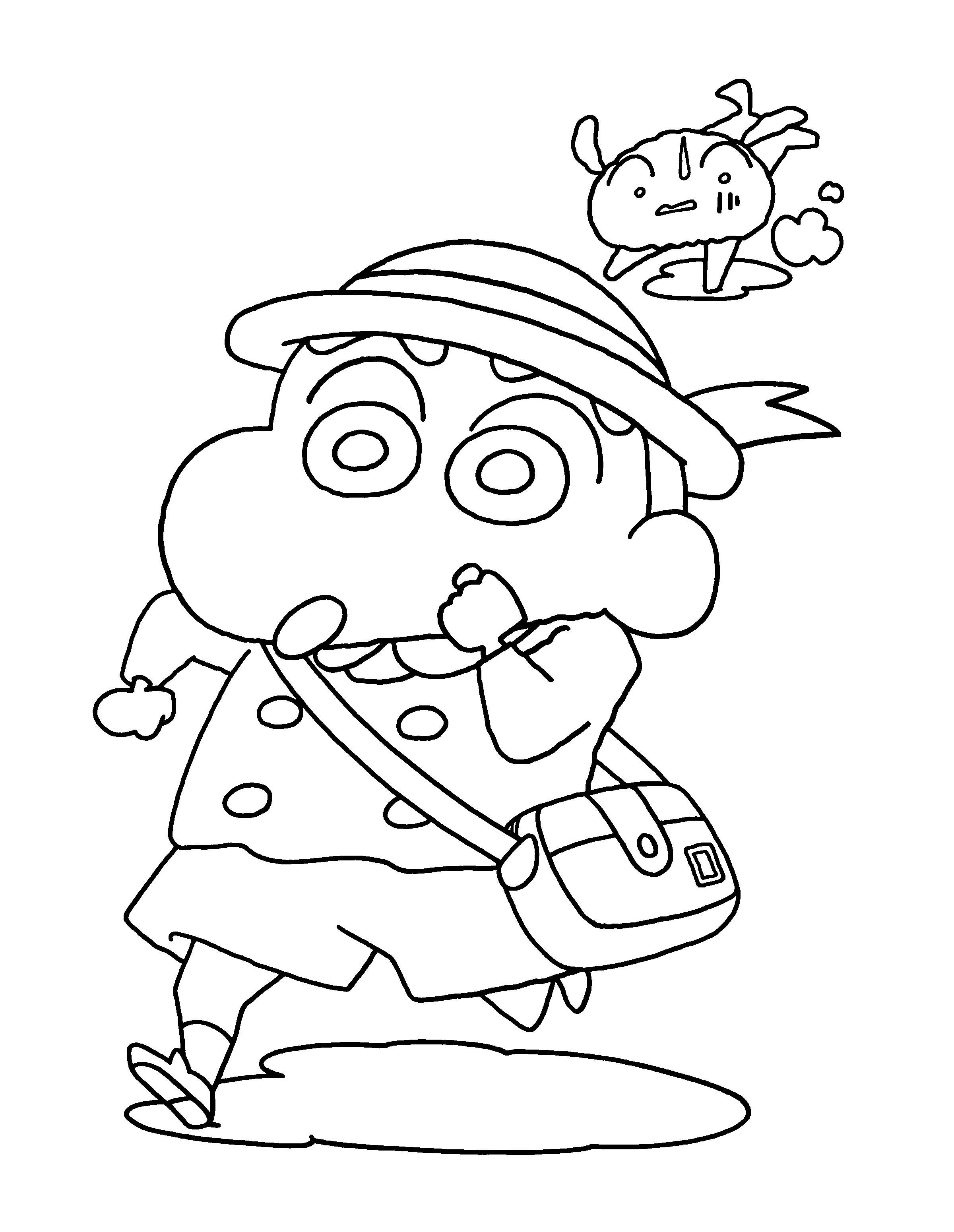 Tranh tô màu Shin cậu bé bút chì và chú chó cùng chạy đua