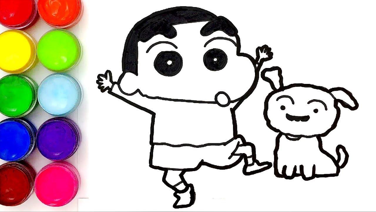 Tranh tô màu Shin cậu bé bút chì và chú chó đáng yêu